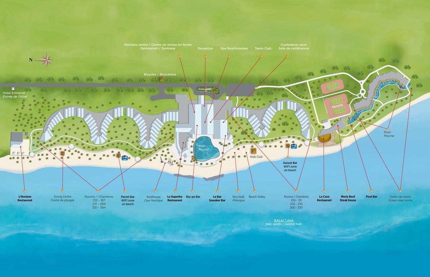Beachcomber - Resort map | Victoria Beachcomber Resort & Spa ...